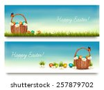 Two Happy Easter Banners With...