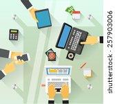 businessmen over the glass... | Shutterstock .eps vector #257903006