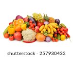 fruit and vegetable isolated on ... | Shutterstock . vector #257930432