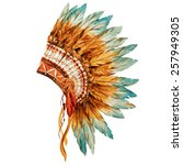 war bonnet  watercolor  feathers | Shutterstock . vector #257949305