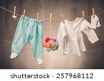 baby clothes hanging on the... | Shutterstock . vector #257968112