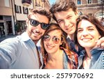 group of friends taking a... | Shutterstock . vector #257970692