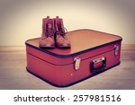 vintage suitcase with male... | Shutterstock . vector #257981516