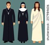 priest  nun and jesus christ ... | Shutterstock .eps vector #257984606