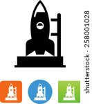 rocket on a launch pad icon | Shutterstock .eps vector #258001028