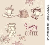 illustration with coffee cups | Shutterstock .eps vector #258008228