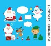 collection of christmas santa... | Shutterstock .eps vector #258016745