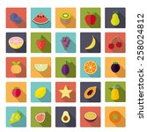 fruit flat design long shadow... | Shutterstock .eps vector #258024812
