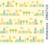 vintage white colorful town... | Shutterstock .eps vector #258027122