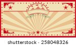 circus card red vintage. an... | Shutterstock .eps vector #258048326