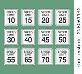 road speed limit signs from... | Shutterstock .eps vector #258061142