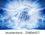 mother and child in tender gesture in divine rays of light - stock photo