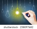 bright idea on blackboard... | Shutterstock . vector #258097682