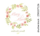 watercolor wreath with flowers... | Shutterstock .eps vector #258107126