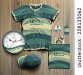 green promotional souvenirs... | Shutterstock .eps vector #258135062