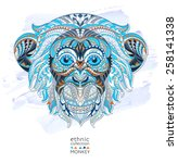 Patterned Head Of The Monkey O...