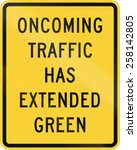 us road warning sign  oncoming... | Shutterstock . vector #258142805