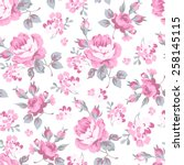 Stock vector seamless floral pattern with pink rose and grey leaves 258145115