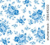 Floral Pattern With Blue Rose