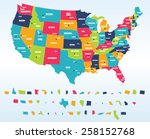 colorful usa map with states... | Shutterstock .eps vector #258152768