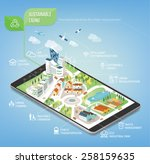 sustainable city on a digital... | Shutterstock .eps vector #258159635