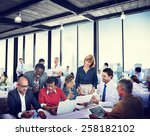 diverse business people working ... | Shutterstock . vector #258182102