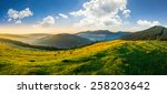 agricultural field on hillside in mountains near village in morning light - stock photo