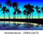 tropical seashore with palms in ... | Shutterstock .eps vector #258212672
