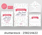 wedding invitation cards set... | Shutterstock .eps vector #258214622