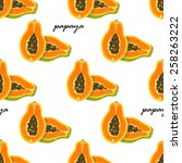 seamless pattern with papaya.... | Shutterstock .eps vector #258263222