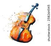 watercolor violin   Shutterstock .eps vector #258264545