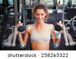 fit smiling woman using the...   Shutterstock . vector #258265322
