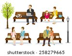 various people are sitting on a ...   Shutterstock .eps vector #258279665