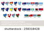 oceania countries set  hearts... | Shutterstock .eps vector #258318428