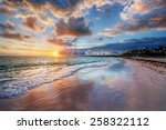 colorful sandy beach at sunset | Shutterstock . vector #258322112