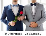Stock photo people homosexuality same sex marriage and love concept close up of happy male gay couple with 258325862