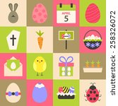 easter flat stylized icon set.... | Shutterstock .eps vector #258326072