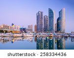 Busan, South Korea city skyline in the Haeundae district. - stock photo