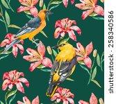 seamless floral pattern. lilies ... | Shutterstock . vector #258340586