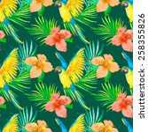 macaw seamless pattern. palm... | Shutterstock . vector #258355826