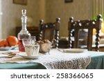 vintage 1940s interior english... | Shutterstock . vector #258366065