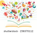 imagination concept   open book ... | Shutterstock .eps vector #258370112