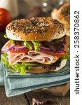 healthy turkey sandwich on a... | Shutterstock . vector #258370862