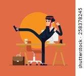 cool vector businessman flat... | Shutterstock .eps vector #258378245