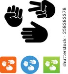 rock paper   scissors hand... | Shutterstock .eps vector #258383378