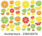 collection of citrus slices  ... | Shutterstock .eps vector #258418376