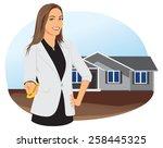 smiling businesswoman giving... | Shutterstock .eps vector #258445325