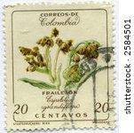 Vintage World Postage Stamp Ephemera columbia (editorial) - stock photo