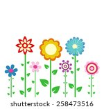 colorful spring flowers vector... | Shutterstock .eps vector #258473516