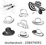 beautiful woman with big hat... | Shutterstock .eps vector #258474092